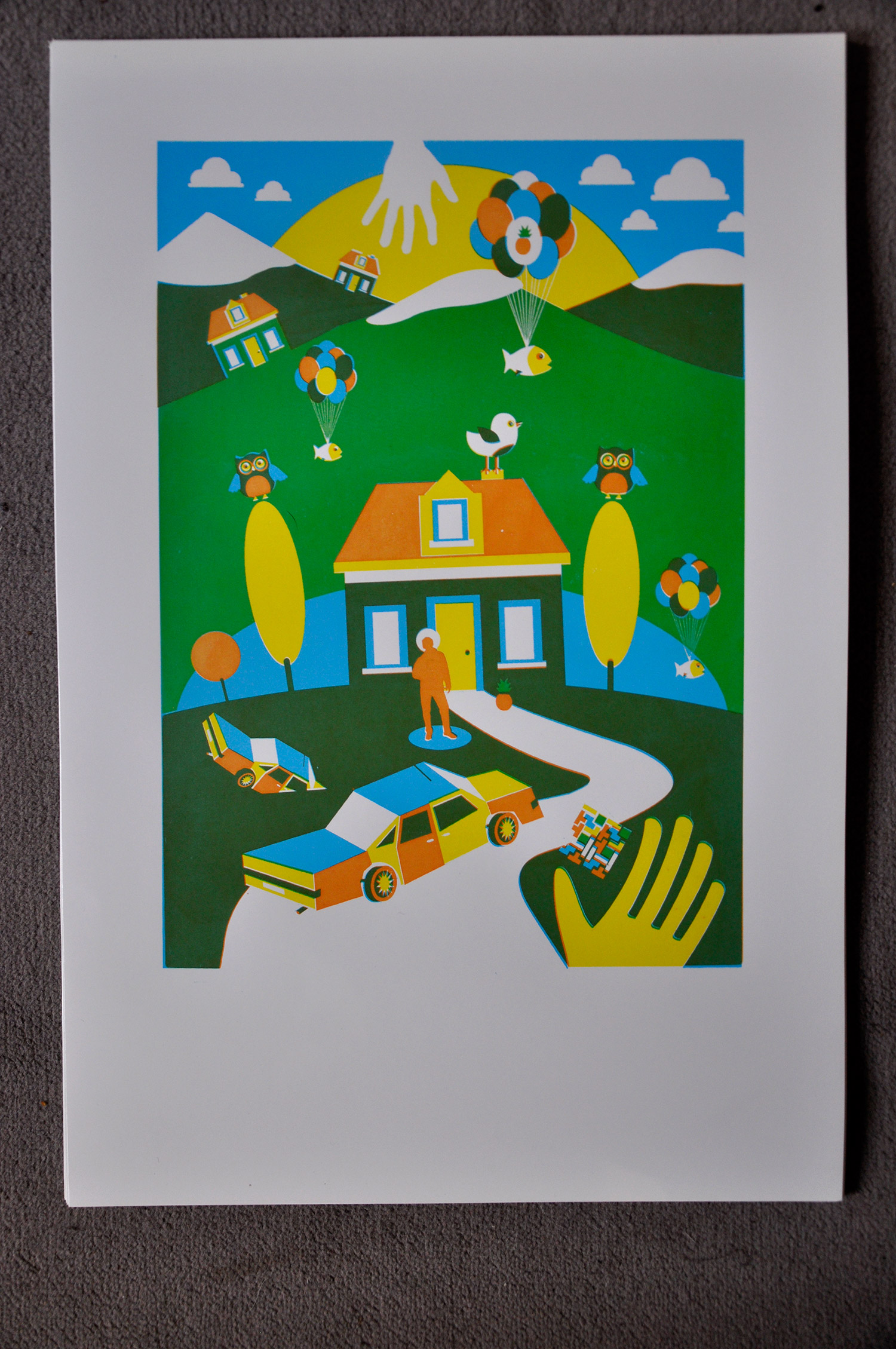 Sérigraphie 3 couleurs, 40x50
