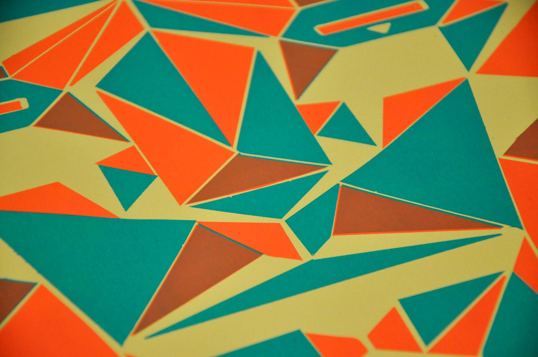 sérigraphie 2 couleurs géometrique de près