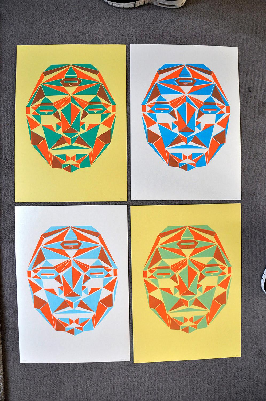 sérigraphie 2 couleurs géometrique x4