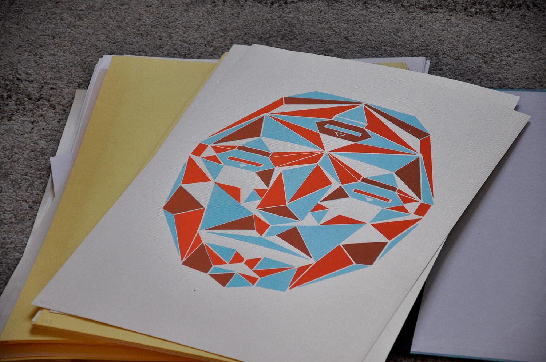 sérigraphie 2 couleurs géometrique reflet