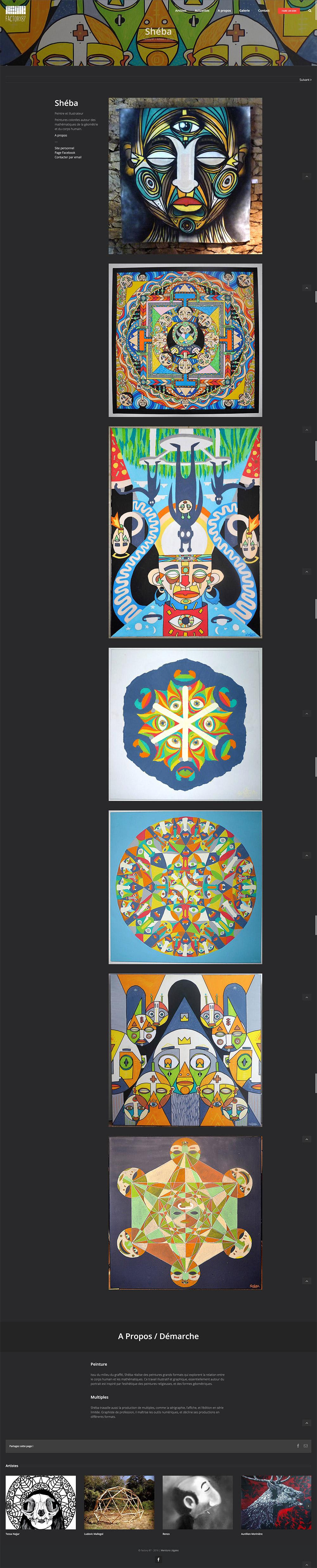 Site web factory87 page artiste