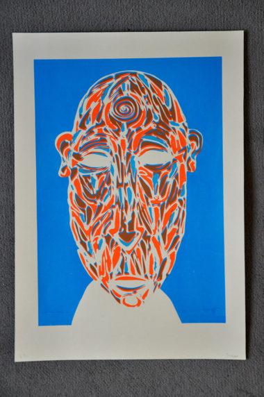 Shéba - Masque (Sérigraphie 2 couleurs) - 35x51cm - 2016