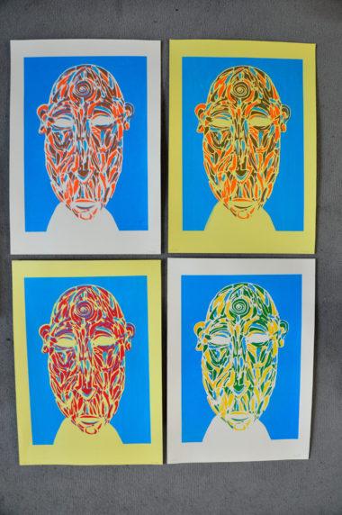 Shéba - Masque (Sérigraphie 2 couleurs variantes) - 35x51cm - 2016