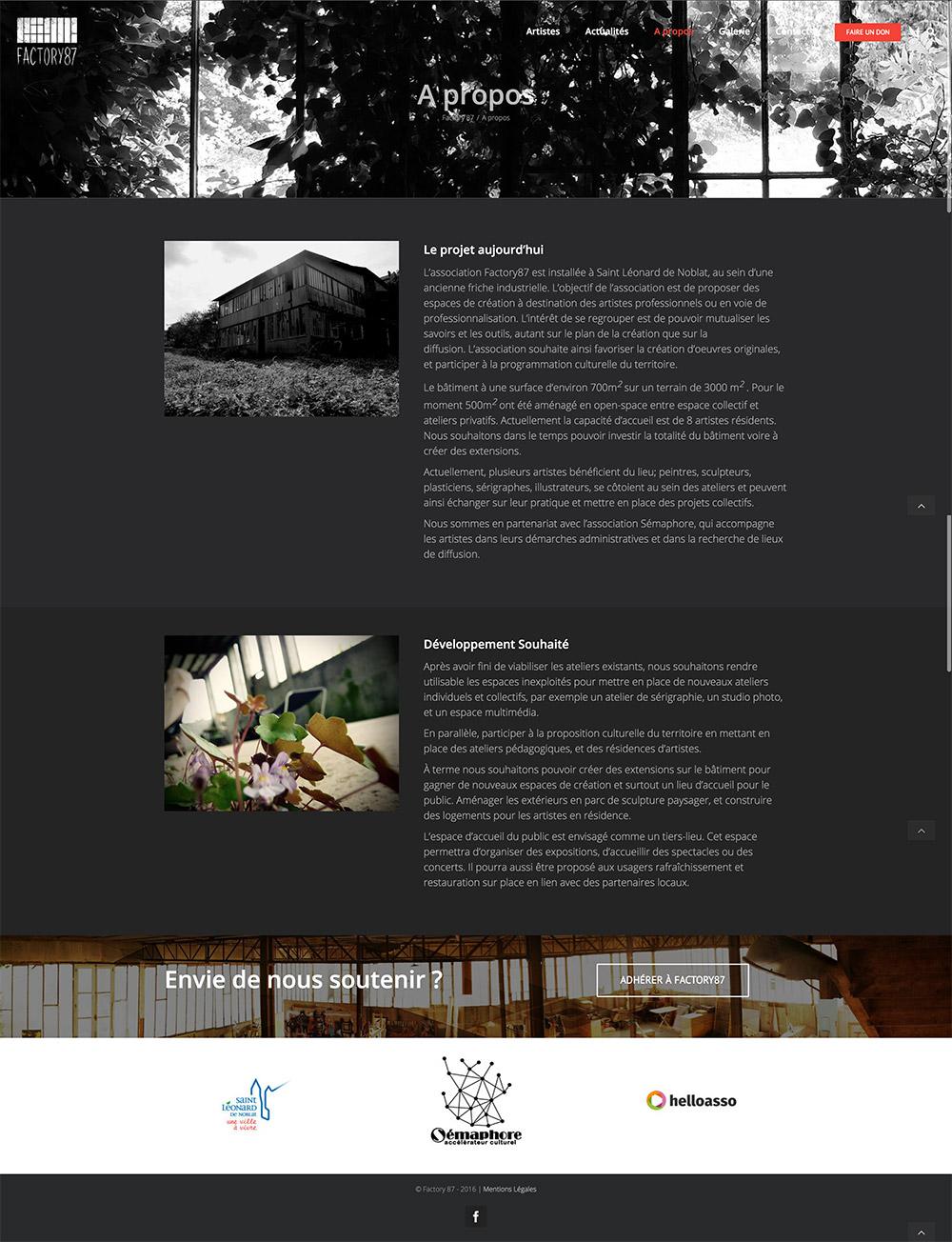 Site web factory87 apropos