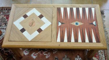 Shéba - Table Chêne et Marqueterie Goutte et Baggamon - 100x54x45cm - 2017
